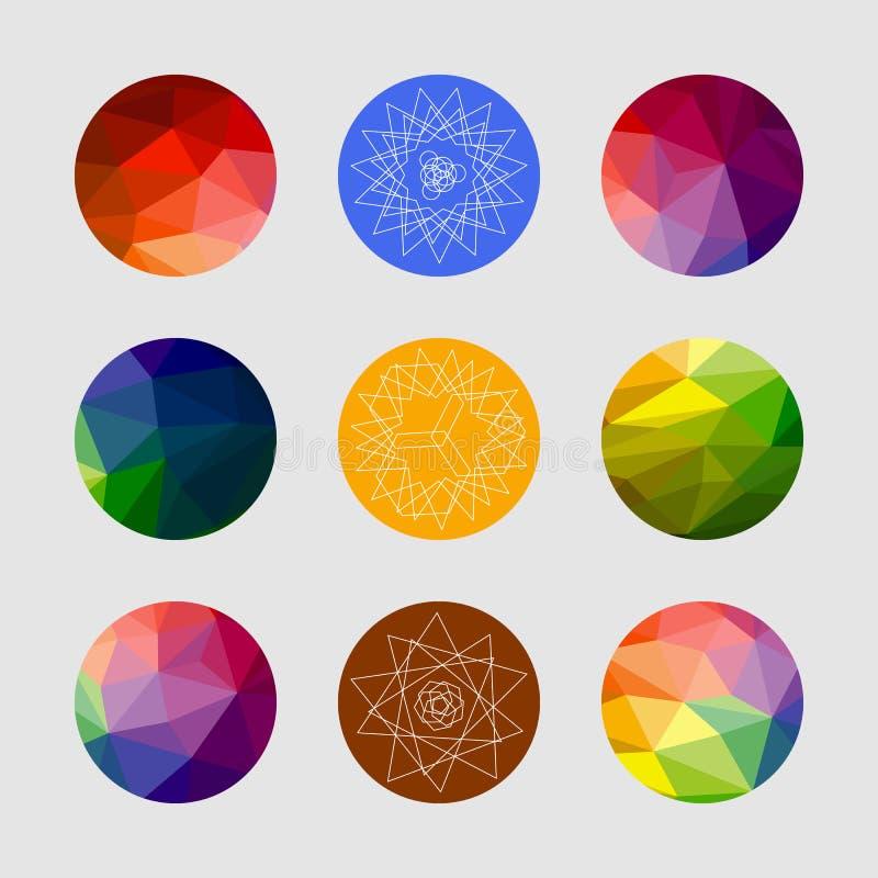 Sistema de formas geométricas Fondo geométrico Sistema de círculos cristalinos geométricos coloreados en estilo del polígono libre illustration