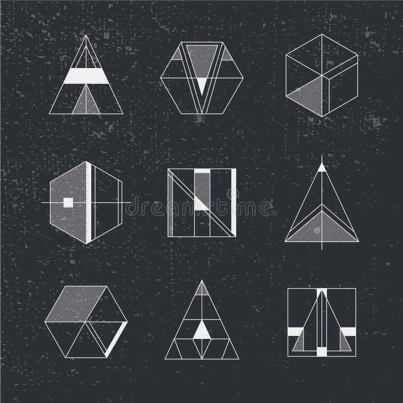Sistema de formas geométricas Fondo y logotipos de moda del inconformista stock de ilustración