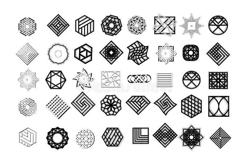 Sistema de formas geométricas Fondo y logotipos de moda del inconformista Religión, filosofía, espiritualidad, símbolos del ocult foto de archivo