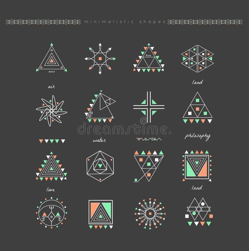Sistema de formas geométricas mínimas ilustración del vector