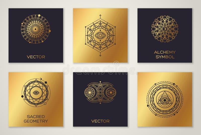 Sistema de formas geométricas mínimas de la geometría sagrada stock de ilustración