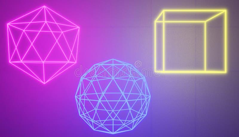 Sistema de formas de neón que brillan intensamente en un estilo retro del ciberespacio stock de ilustración