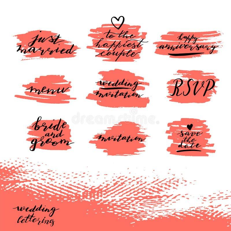 Sistema de frases de encargo de las letras de la mano salvo la fecha, el rsvp, la novia y el novio, invitación de la boda, aniver ilustración del vector