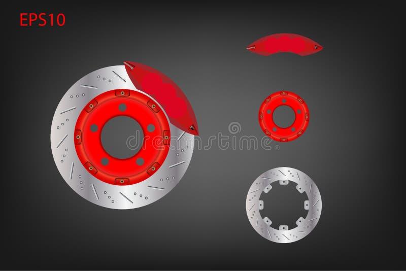 Sistema de freio do disco do carro com compasso de calibre vermelho ilustração royalty free