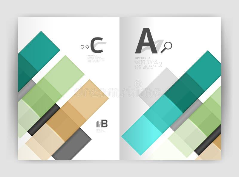Sistema de frente y de las páginas traseras del tamaño a4, plantillas del diseño del informe anual del negocio stock de ilustración