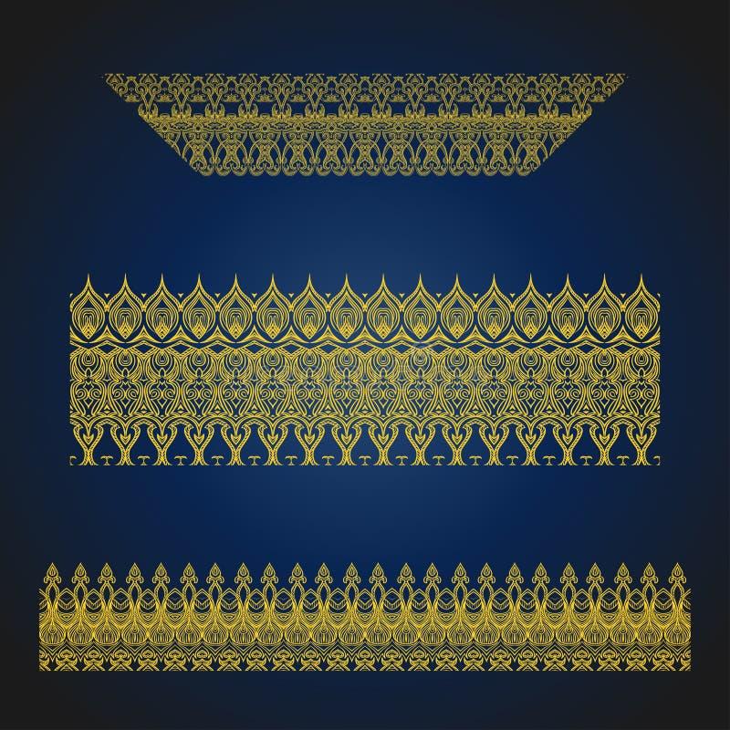 Sistema de fronteras adornadas árabes inconsútiles en fondo azul libre illustration