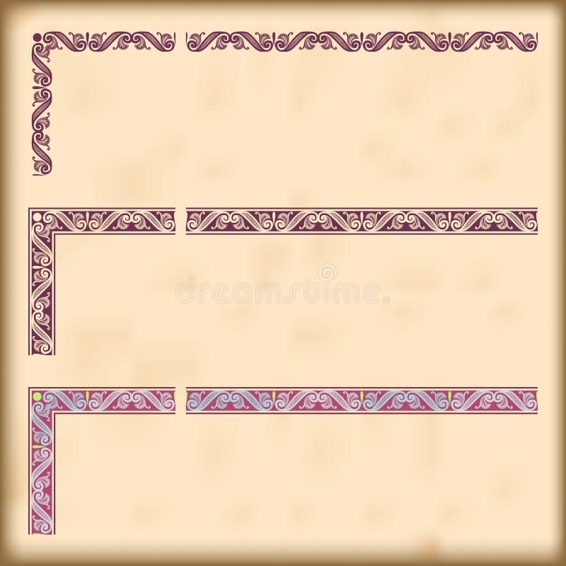 Sistema de fronteras adornadas con los elementos de la esquina decorativos, vector libre illustration