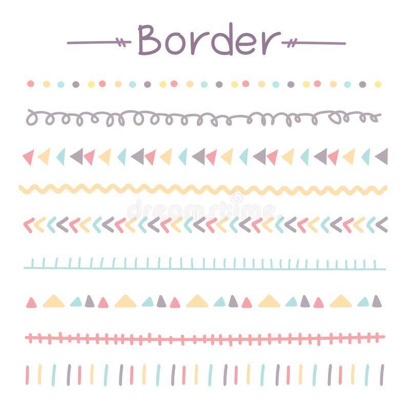 Sistema de fronteras coloridas del garabato ilustración del vector