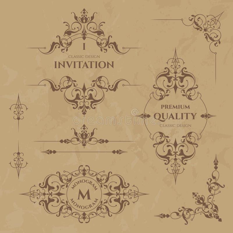 Sistema de fronteras, de bastidores, de esquinas y de monogramas decorativos ilustración del vector