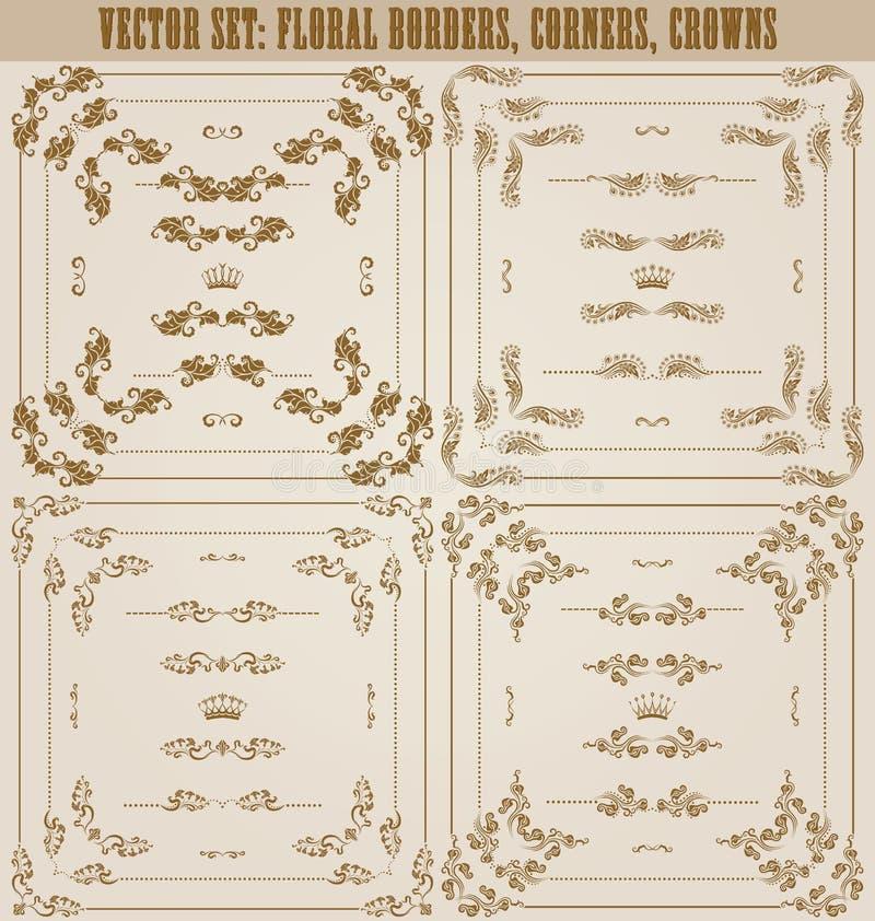 Sistema de fronteras decorativas del oro, marco del vector stock de ilustración