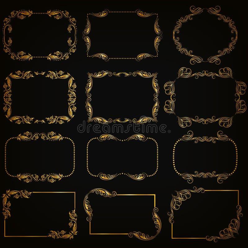 Sistema de fronteras decorativas del oro, marco del vector libre illustration