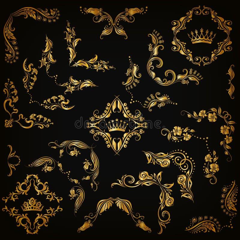 Sistema de fronteras decorativas del oro, marco del vector ilustración del vector