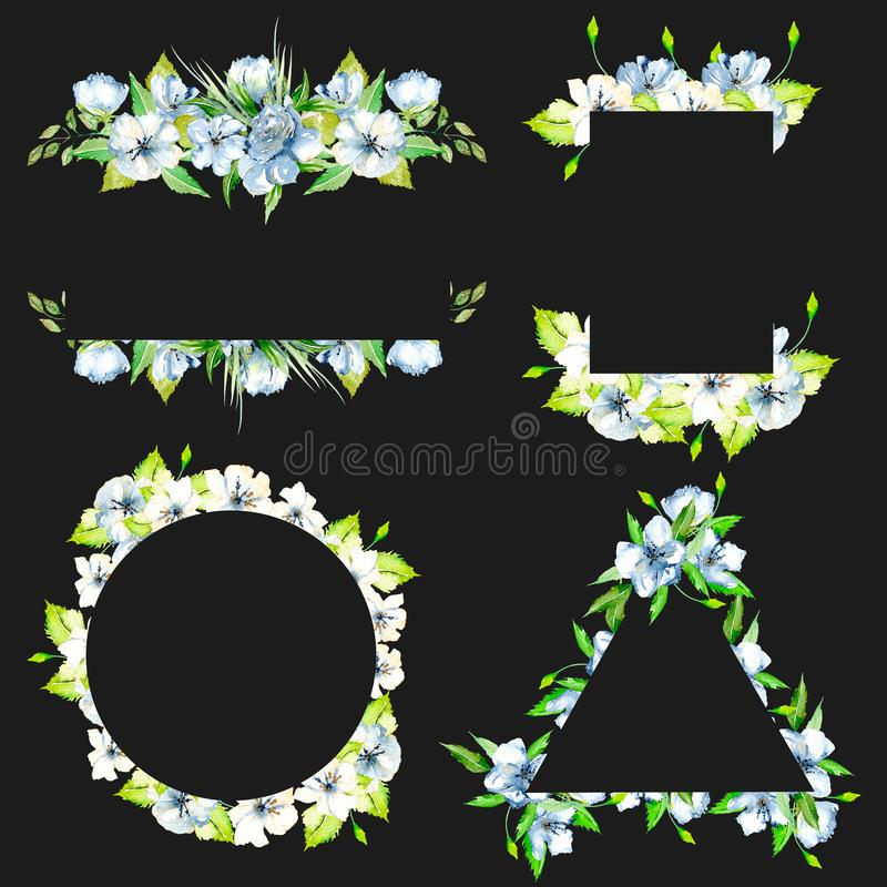 Sistema de fronteras del marco con los wildflowers azules de la acuarela simple y las hojas frescas verdes stock de ilustración