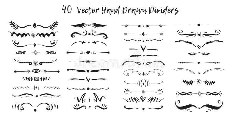 Sistema de fronteras handdrawn de la divisoria en tinta Remolinos y divisores para el diseño Frontera elegante negra del vector ilustración del vector