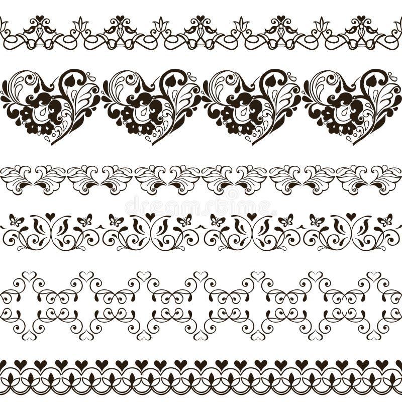 Sistema de fronteras inconsútiles con los corazones alheña stock de ilustración