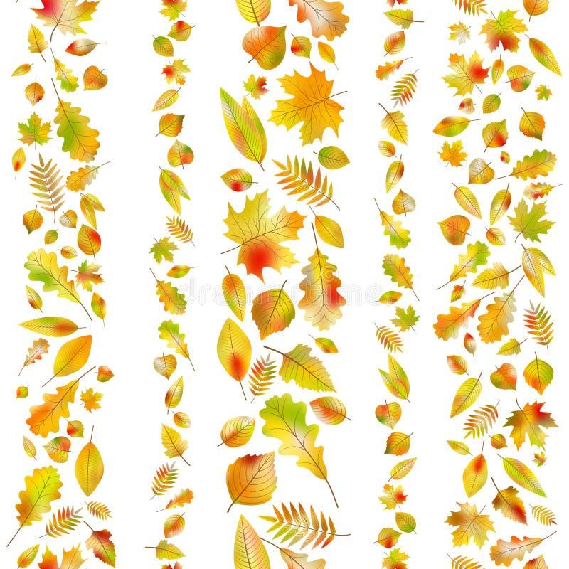 Sistema de fronteras inconsútiles de las hojas de otoño Vector del EPS 10 stock de ilustración