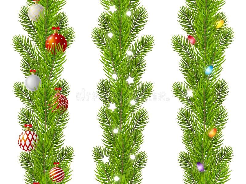 Sistema de fronteras inconsútiles de las ramas de árbol de navidad stock de ilustración