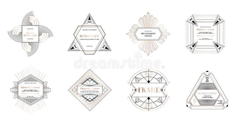 Sistema de fronteras y de bastidores del art déco El estilo geométrico de la plantilla en 1920 s Gatsby para su invitación de bod libre illustration
