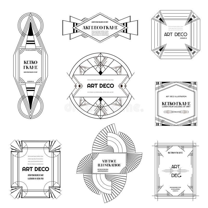 Sistema de fronteras y de bastidores del art déco Estilo geométrico para su diseño, invitación de boda, bandera de la plantilla e ilustración del vector