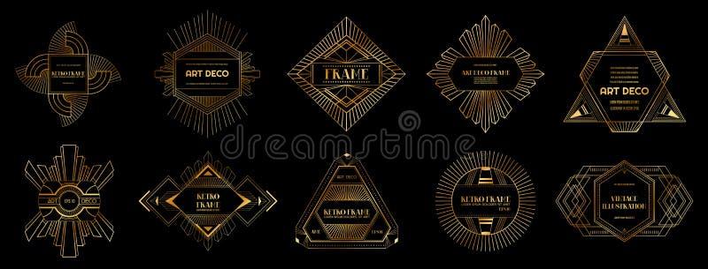 Sistema de fronteras y de bastidores del art déco Estilo geométrico para su diseño, invitación de boda, bandera de la plantilla e stock de ilustración
