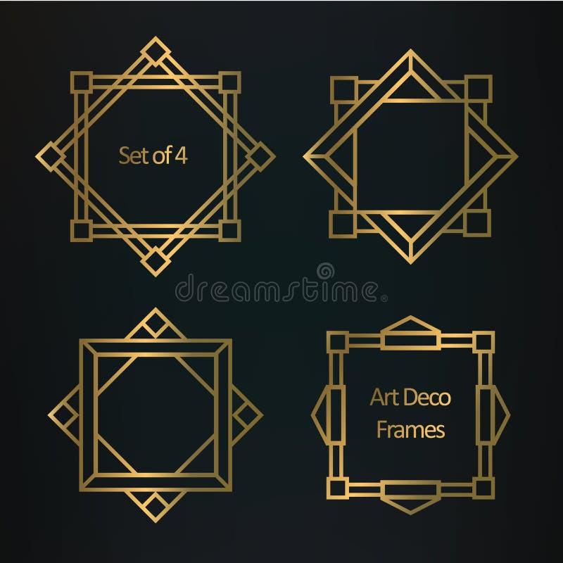 Sistema de fronteras y de bastidores geométricos del art déco stock de ilustración