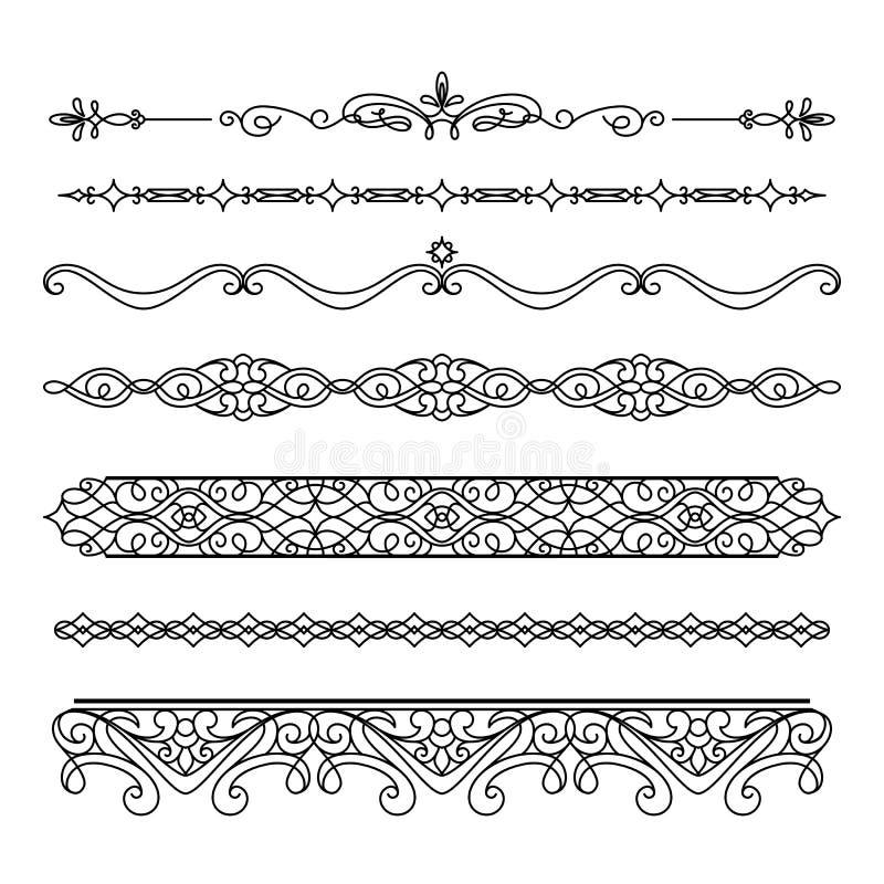 Sistema de fronteras y de flourishes del vintage en blanco ilustración del vector