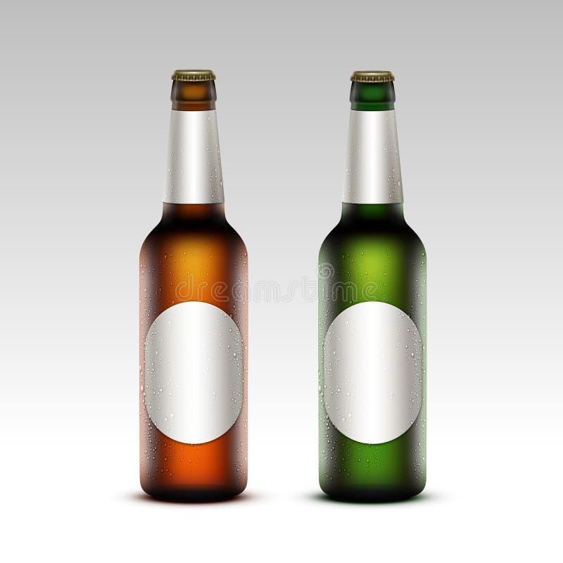 Sistema de Frosty Bottles Light Beer de cristal con las etiquetas libre illustration