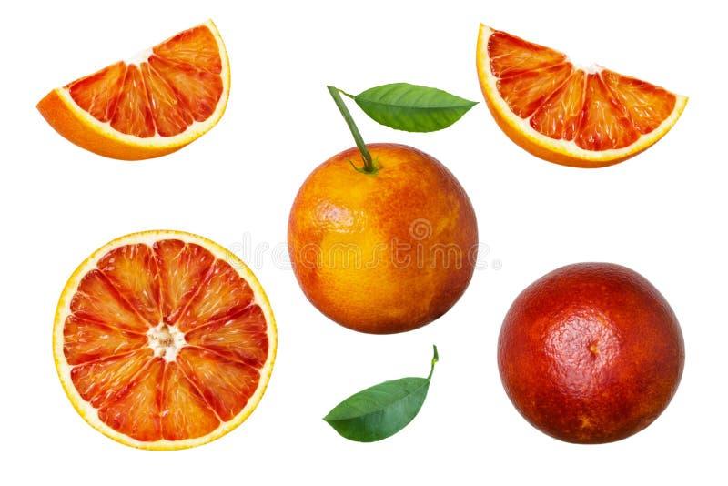 Sistema de fruta anaranjada roja con las hojas del verde aisladas en el fondo blanco imagen de archivo libre de regalías