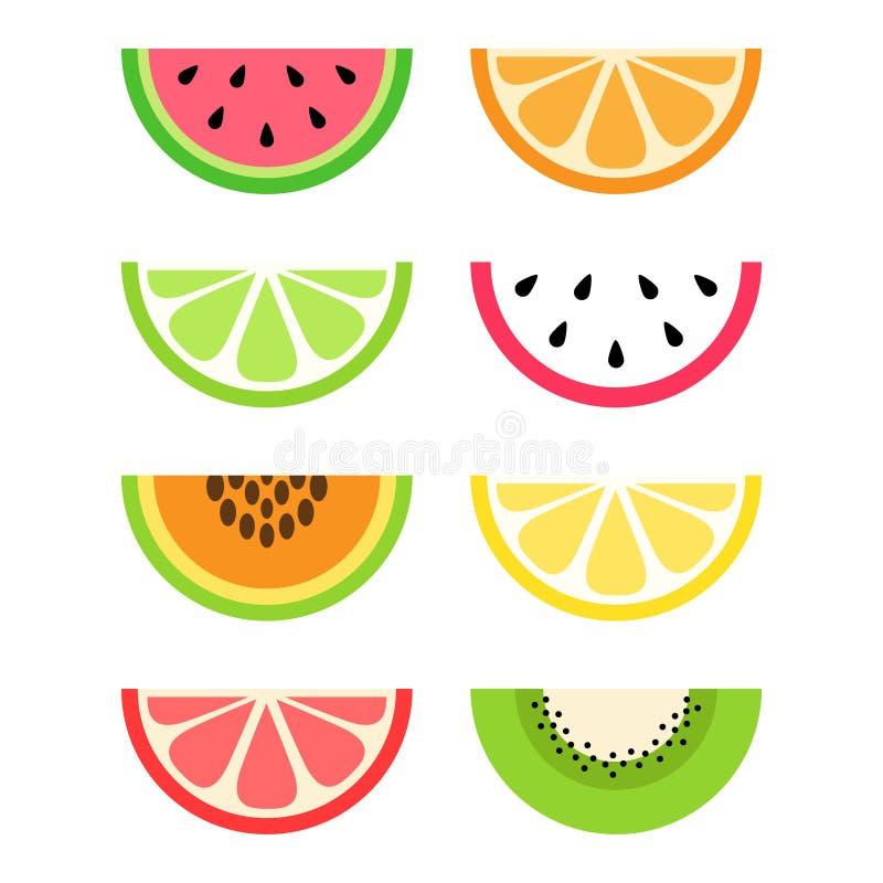 Sistema de fruta cítrica y de rebanadas exóticas de la fruta libre illustration