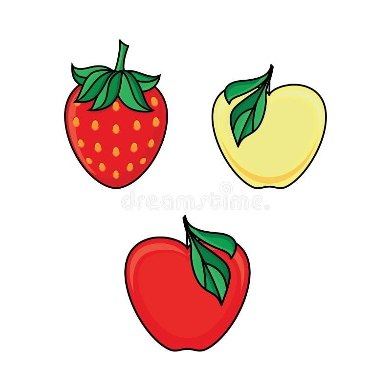 Sistema de fruta de la manzana y de iconos maduros de la baya de la fresa libre illustration