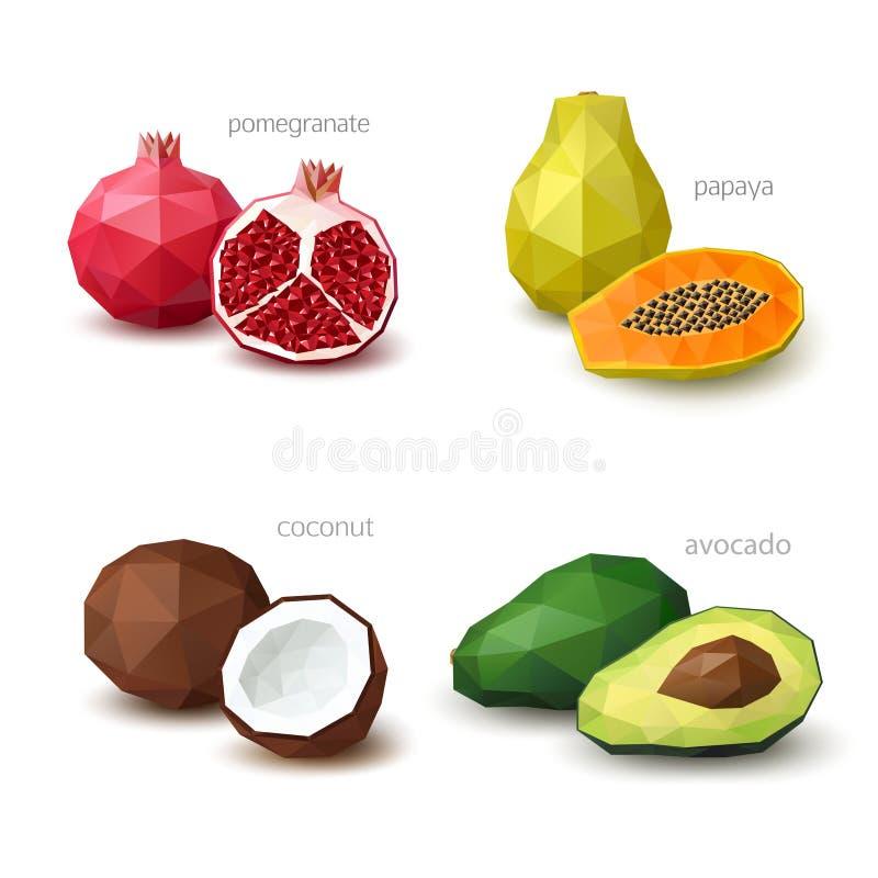 Sistema de fruta poligonal - granada, papaya, coco, aguacate fotos de archivo libres de regalías