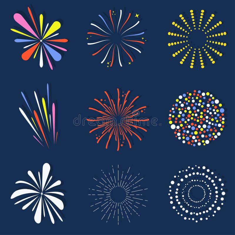 Sistema de fuegos artificiales aislados Brillantemente, bolas coloridas y monocromáticas del fuego artificial de la celebración stock de ilustración