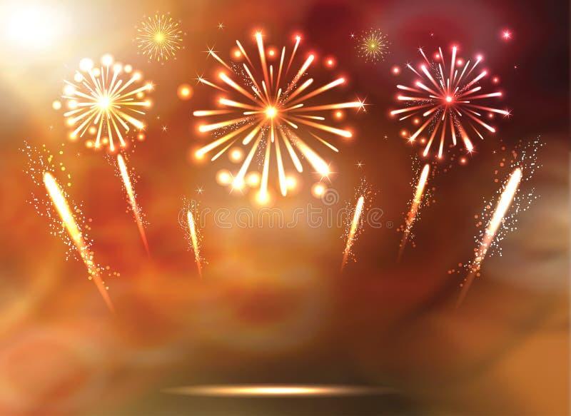 Sistema de fuegos artificiales festivos en el fondo azul Vector libre illustration