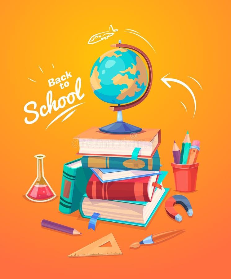 Sistema de fuentes y de iconos de escuela De nuevo a escuela stock de ilustración