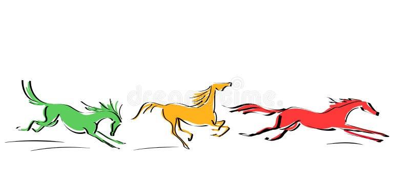 Sistema de galope rojo, caballos amarillos, anaranjados en el movimiento en el fondo blanco libre illustration