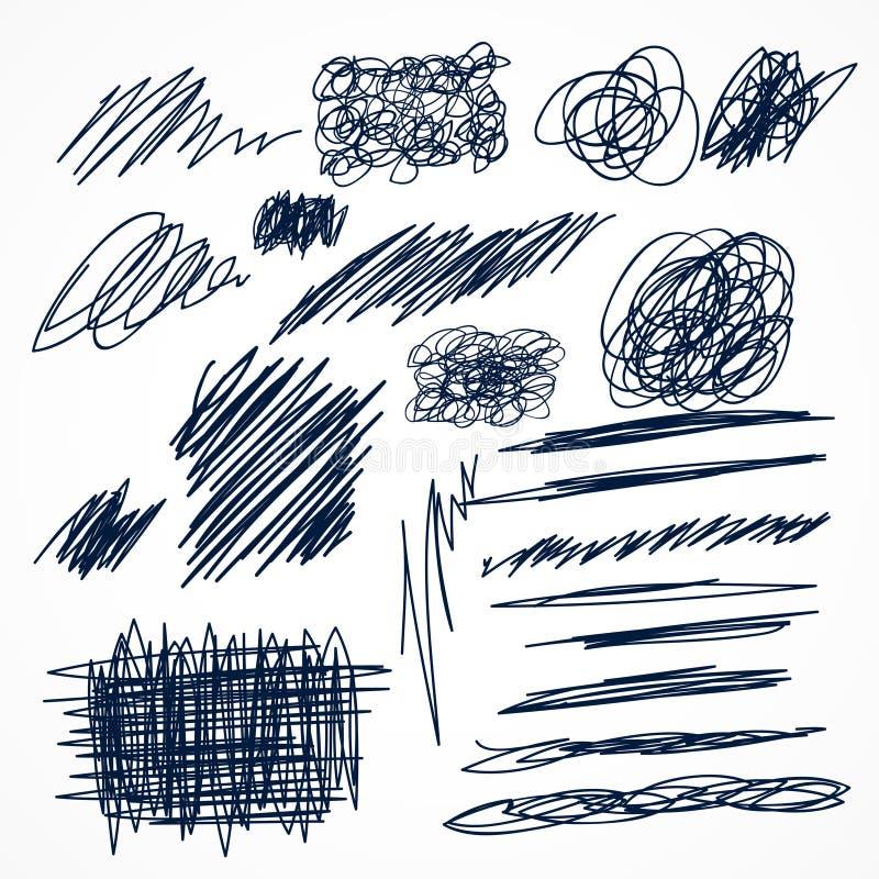 sistema de garabatos dibujados mano de la pluma de la tinta ilustración del vector