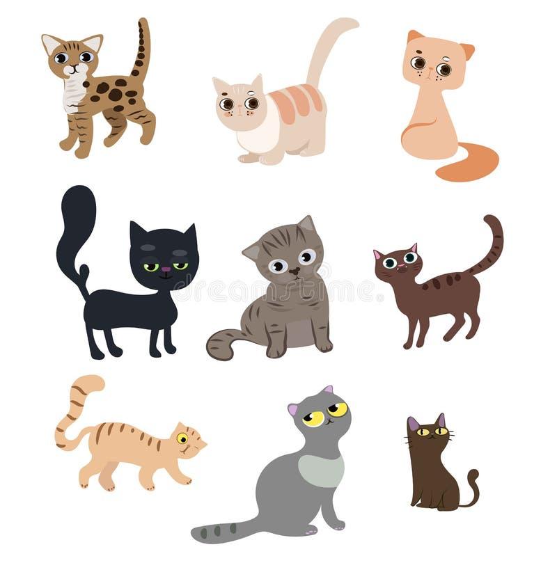 Sistema de gatos divertidos lindos ilustración del vector