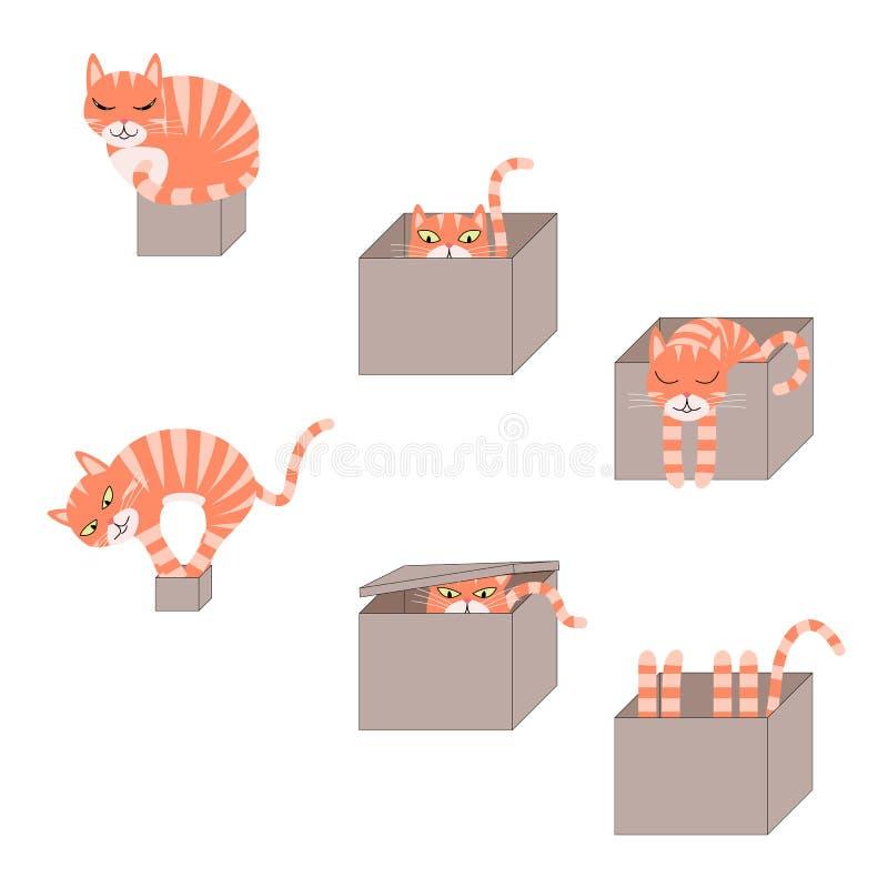 Sistema de gatos lindos de la historieta en cajas stock de ilustración