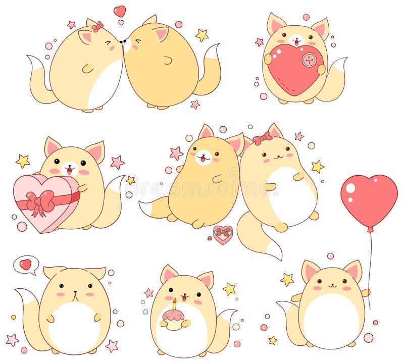 Sistema de gatos lindos en estilo del kawaii libre illustration
