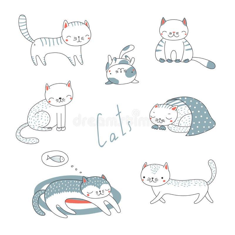 Sistema de gatos lindos de la historieta ilustración del vector