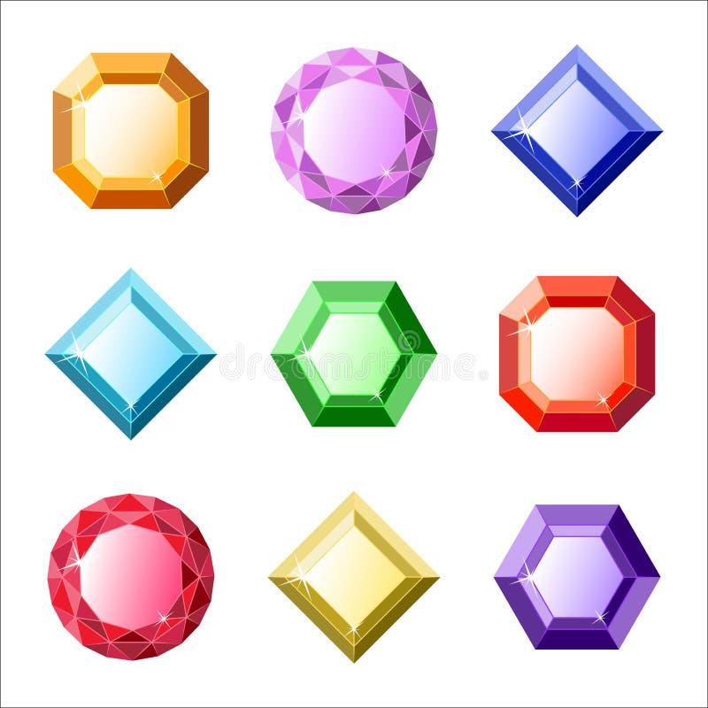Sistema de gemas del vector y de iconos de los diamantes stock de ilustración