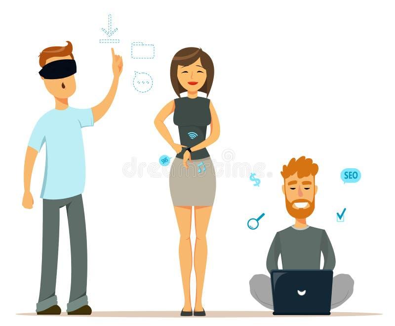 Sistema de gente con los artilugios modernos Hombre en vidrios de la realidad virtual Mujer alegre con el reloj elegante Hombre q stock de ilustración