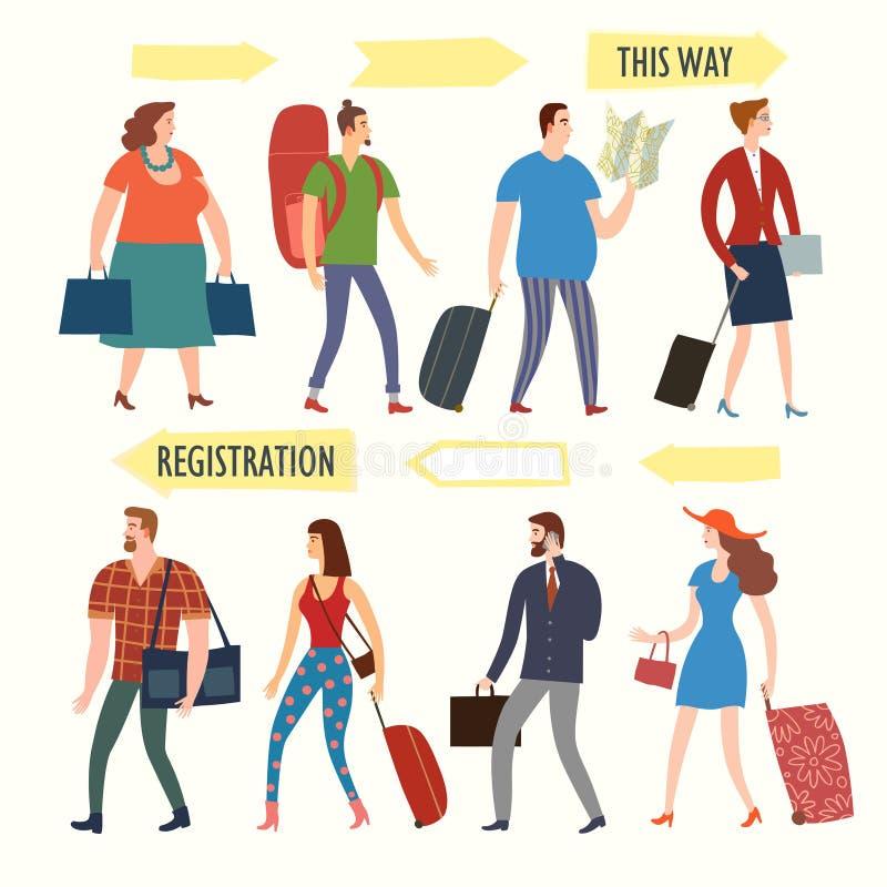Sistema de gente de la historieta con los bolsos y de maletas en cola stock de ilustración