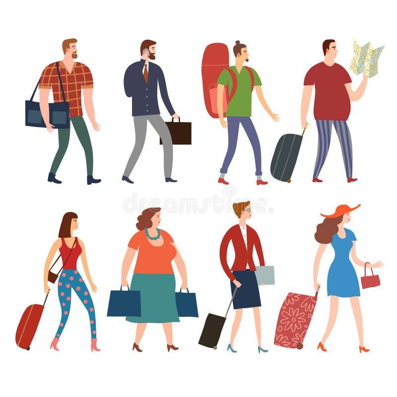 Sistema de gente de la historieta con los bolsos y las maletas stock de ilustración