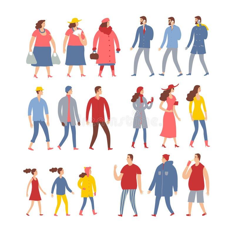Sistema de gente de la historieta en ropa estacional libre illustration