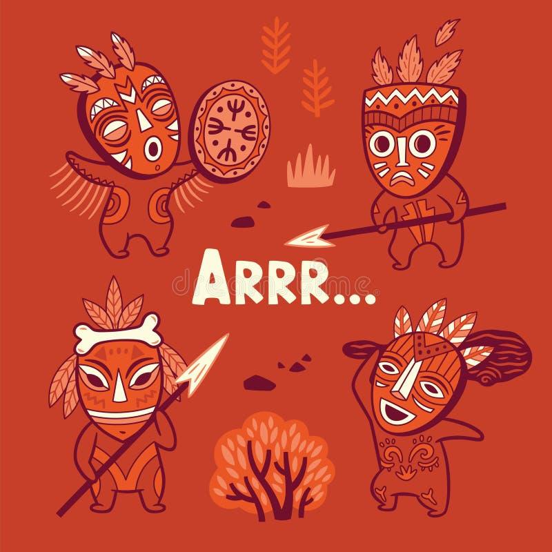 Sistema de gente de la tribu de la Edad de Piedra en máscaras libre illustration