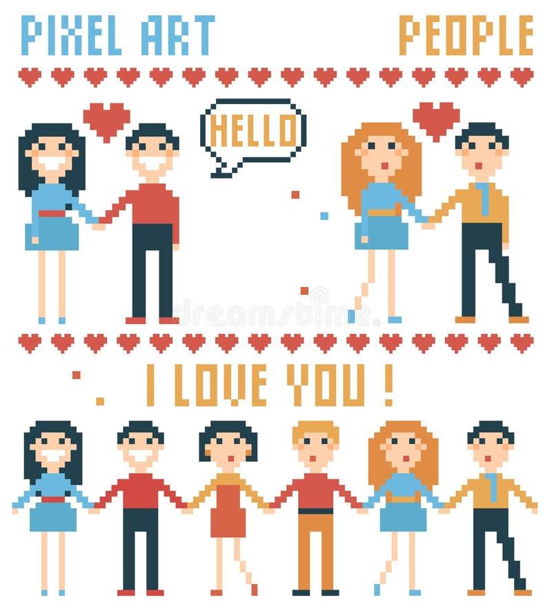 Sistema de gente del pixel, palabras, corazones stock de ilustración