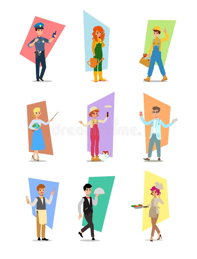 Sistema de gente de diversas profesiones, diseño de caracteres de la carrera, Día del Trabajo, ejemplo del vector del plano-estil libre illustration