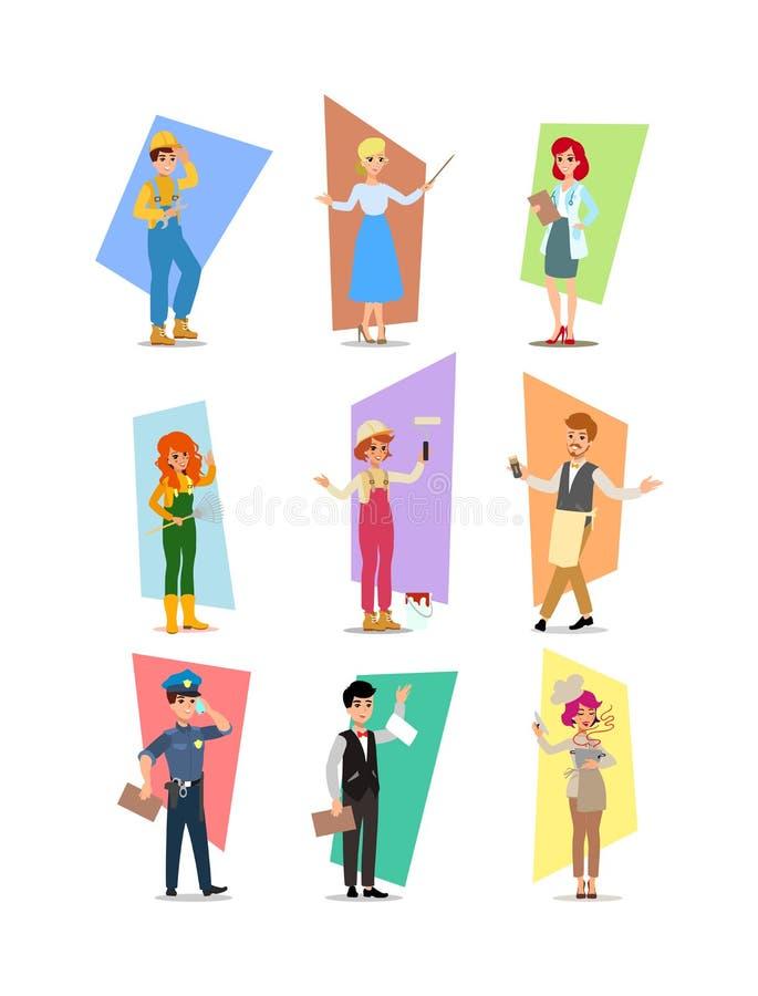 Sistema de gente de diversas profesiones, diseño de caracteres de la carrera, Día del Trabajo, ejemplo del vector del plano-estil ilustración del vector