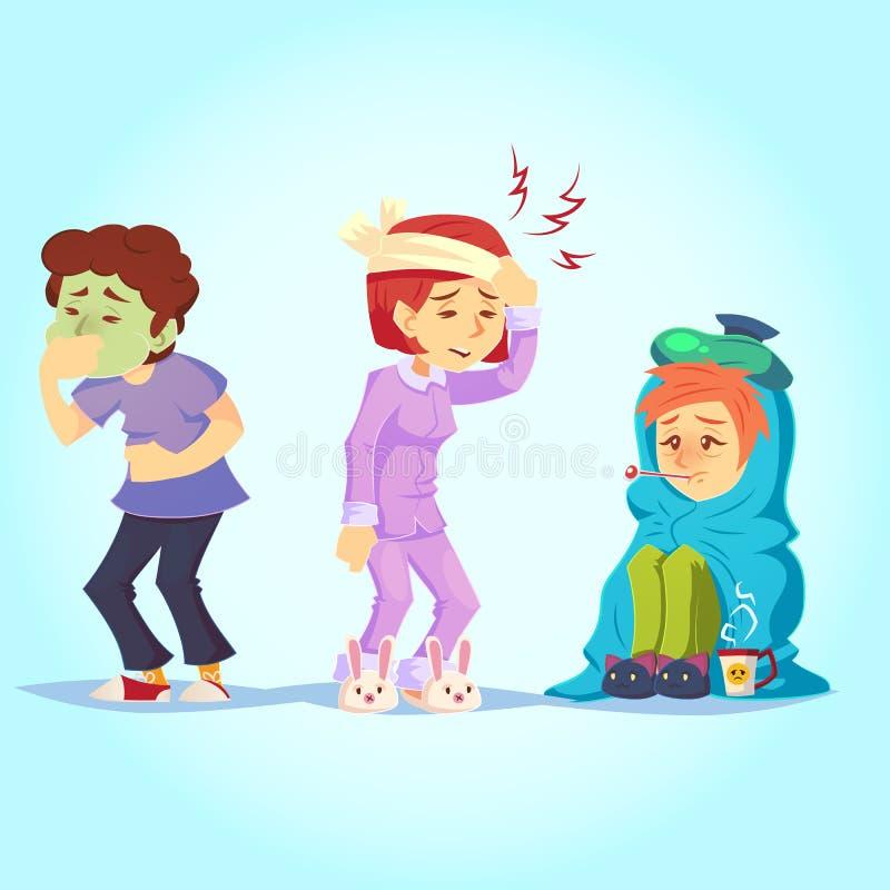 Sistema de gente enferma que tiene sensación fría mal, ejemplo de la gripe del vector del estilo de la historieta de la temperatu stock de ilustración